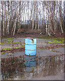 TG2407 : The Deal Ground - oil drum reflected in puddle by Evelyn Simak