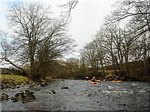 SD9771 : Middle Wharfe paddling party by Andy Waddington