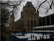 TQ2679 : Ice skating in front of the Natural History Museum by Peter S