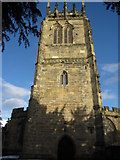 SJ3454 : The west face of the tower of All Saints, Gresford by John S Turner