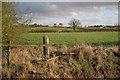 SP3674 : A broken fence below Manor Farm by Robin Stott