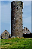 SC2484 : Peel Castle interior - Round tower and stone buildings by Joseph Mischyshyn
