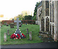 TL9585 : St Mary's church - war memorial by north porch by Evelyn Simak