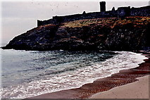SC2484 : Peel - Fenella Beach, south castle wall, round tower  by Joseph Mischyshyn