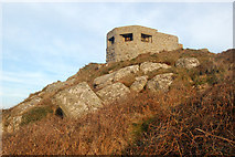 SW3526 : Higher of two 'pillbox' gun emplacements above Sennen Cove (3) by Andy F