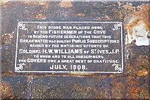 SW3526 : Plaque on the breakwater at Sennen Cove by Andy F