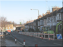 TQ4077 : Utility works on Westcombe Hill by Stephen Craven