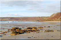 SW3526 : Rocks on the beach at Sennen Cove by Andy F