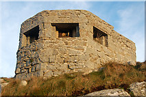 SW3526 : Close-up view of a pillbox above Sennen Cove by Andy F