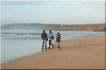 SW5742 : Group on Godrevy beach at low water by Andy F