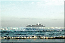 SW5742 : Godrevy lighthouse from the beach at low water (2) by Andy F