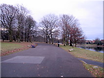 SJ3787 : Sefton Park - a wide path by John S Turner