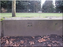 SJ3787 : Sefton Park - perimeter wall bench mark #7 by John S Turner