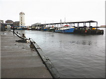 NZ3668 : The 'Gut', North Shields fish quay by Roger Cornfoot
