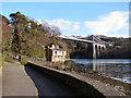 SH5571 : Menai Suspension Bridge and Belgian Promenade by David Dixon