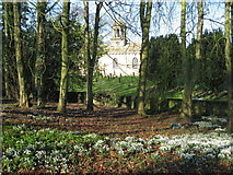 SE5971 : All Saints Church, Brandsby, and snowdrops by Les Shaw