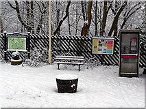 SD9926 : Information boards and seating outside Hebden Bridge railway station by Phil Champion