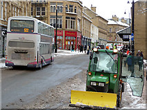 SE0925 : Mini tractor with snow plough , Market Street, Halifax by Phil Champion