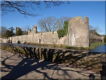 ST5545 : Wall and moat surrounding Bishop's Palace, Wells by Derek Harper