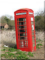 TL9992 : Leaning K6 telephone box in Sallow Lane, North End by Evelyn Simak