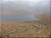 SH6459 : Llyn Idwal in the drizzle by Jeremy Bolwell