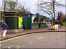 TQ2374 : The new loo and kiosks at the Putney Green Man bus terminus. by tristan forward
