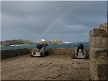 SV8815 : Rainbow over Shipman Head from Cromwell's Castle, Tresco by Andrew Abbott