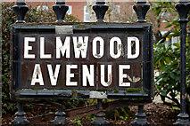 J3372 : Elmwood Avenue sign, Belfast by Albert Bridge