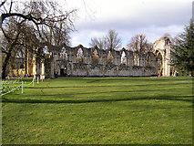 SE5952 : St Mary's Abbey, North Wall by David Dixon