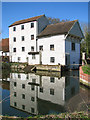 TG1208 : Marlingford Mill reflecting in mill dam by Evelyn Simak