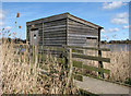 TM3899 : Bird hide in Hardley Flood by Evelyn Simak
