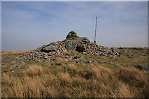 SX5680 : Lynch Tor cairn and flag pole by Guy Wareham