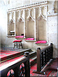 TF5617 : All Saints church in Tilney All Saints - C15 sedilia by Evelyn Simak