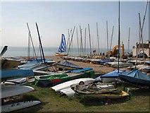 TQ7407 : Boats on Bexhill beach by Paul Gillett