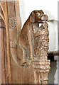 TF5016 : St Peter's church in Walpole St Peter - carved bench end by Evelyn Simak