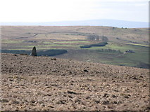 NY5775 : Cairn and moorland north of Borderrigg by Mike Quinn