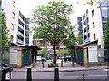 TQ3082 : Entrance to apartment blocks off Cromer Street, St Pancras by David P Howard