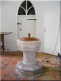 TM2769 : Font of St.Lawrence Church, Brundish by Adrian Cable