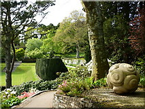 SX7962 : Twelve Apostles and sculpture, Dartington Hall Gardens by Tom Jolliffe