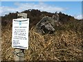 NS4581 : Notice beside the Lang Cairn by Lairich Rig