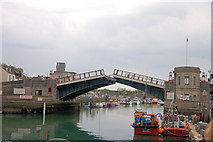 SY6778 : Town Bridge beginning to open by John Firth