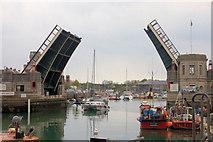 SY6778 : Town Bridge fully open by John Firth