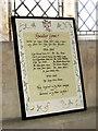 TF8521 : All Saints' church in Weasenham - war memorial by Evelyn Simak