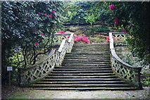 TQ4745 : Staircase in the Garden, Hever Castle, Kent by Peter Trimming
