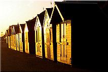 TG2142 : Beach Huts at Sunrise, Cromer, Norfolk by Christine Matthews