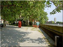 TQ2977 : Telephone box and portaloo Grosvenor Road London by Steve  Fareham