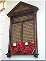 TF8200 : All Saints' church in Hilborough - war memorial by Evelyn Simak