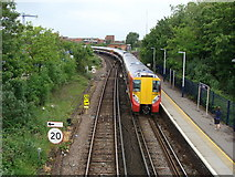 TQ0471 : Railway from the footbridge at Staines Station by Ruth Sharville