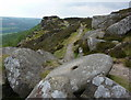 SK2575 : Formed grindstone by Curbar Edge by Andrew Hill