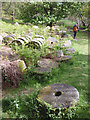 SK2479 : Millstones by the track, Bolehill Quarry (Lawrencefield) by Karl and Ali